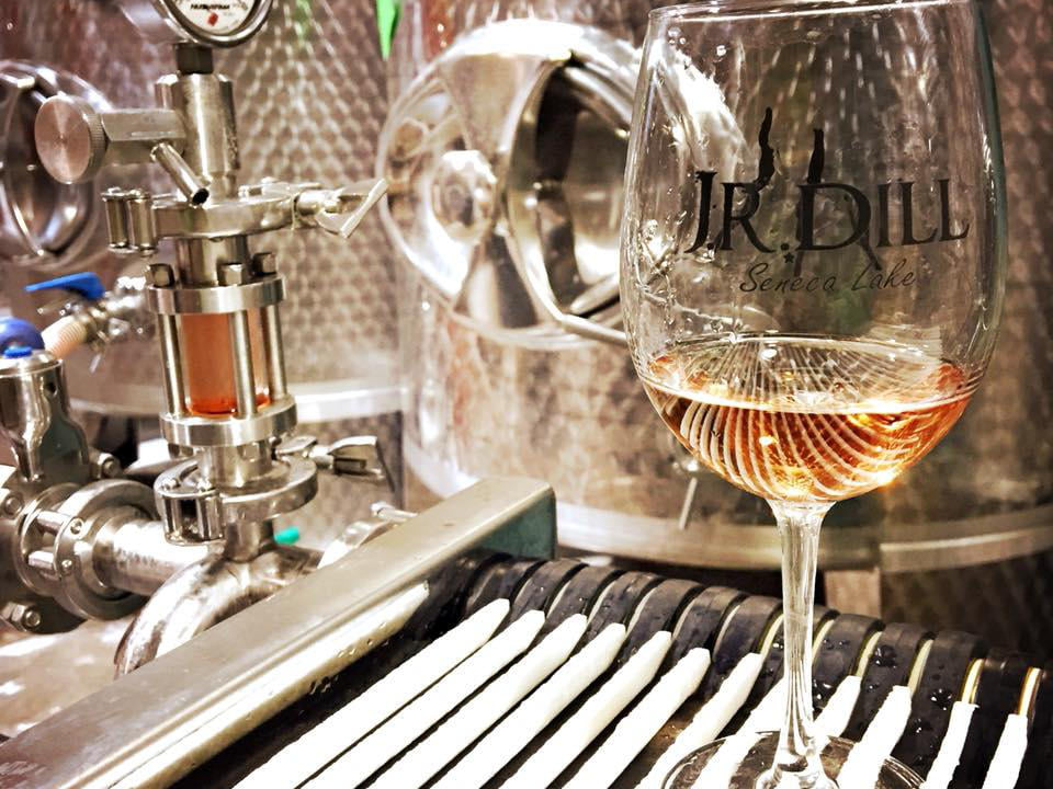 vineyards glass of rosé wine in the production plant for filtration jr dill winery burdett new york united states ulocal local products local purchase local produce locavore tourist