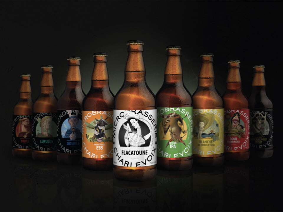 microbreweries 9 bottles of beer varieties microbrasserie charlevoix baie-saint-paul quebec canada ulocal local products local purchase local produce locavore tourist