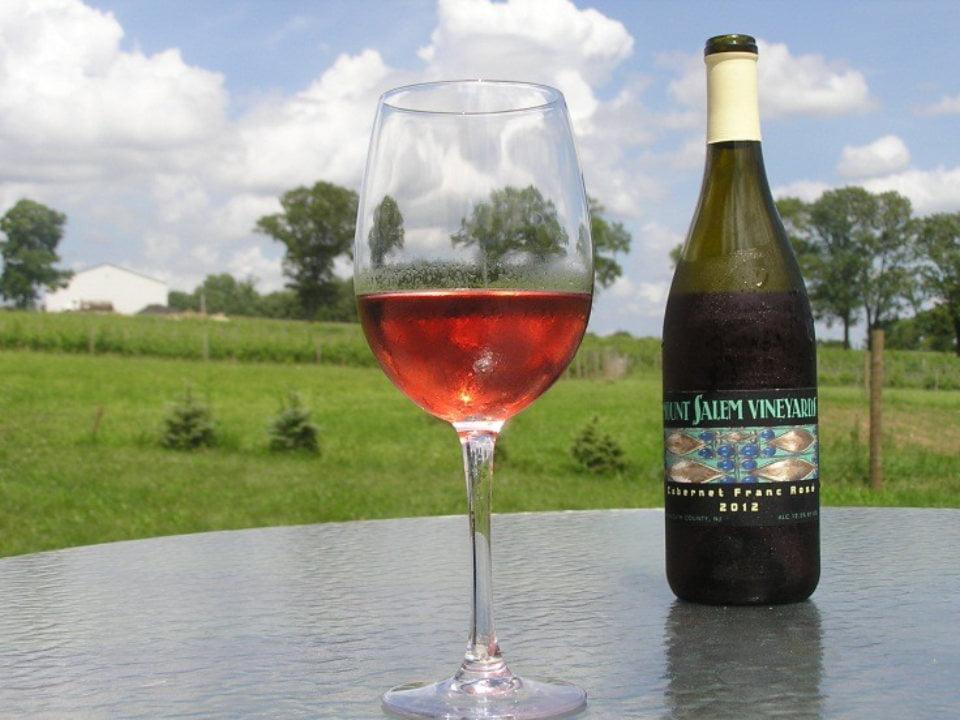 vignoble 2018 cabernet franc rosé avec verre sur table et vue sur le vignoble mount salem vineyards pittstown new jersey états unis ulocal produits locaux achat local produits du terroir locavore touriste