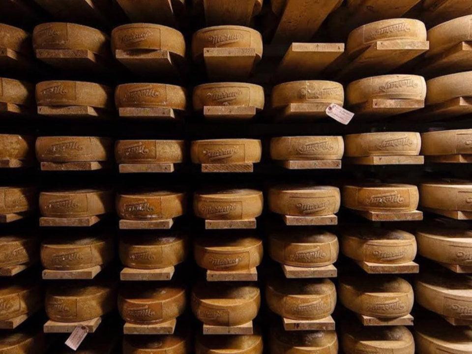 fromagerie mur rempli de meules de fromage dans une cave de vieillissement murrays cheese shop greenwich village new york new york états unis ulocal produits locaux achat local produits du terroir locavore touriste
