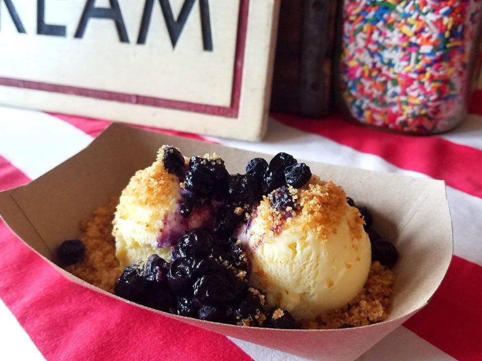 food cornbread ice cream with blueberry sauce and brown butter cake soil oddfellows ice cream williamsburg brooklyn new york united states ulocal local products local purchase local produce locavore tourist