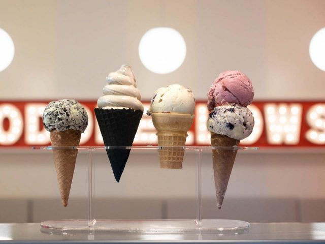food assortment of 4 ice cream cones oddfellows ice cream williamsburg brooklyn new york united states ulocal local products local purchase local produce locavore tourist