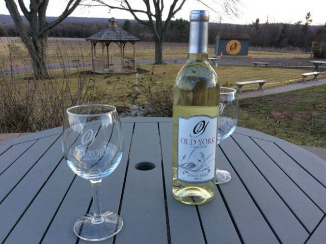 vineyard bottle of white wine with glasses on an outdoor table in the vineyard in autumn old york cellars ringoes new jersey united states ulocal local products local purchase local produce locavore tourist