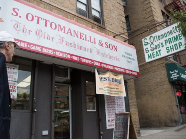 butcher shop facade with sign of the outdoor butcher s ottomanelli and sons prime meat shop woodside new york united states ulocal local products local purchase local produce locavore tourist