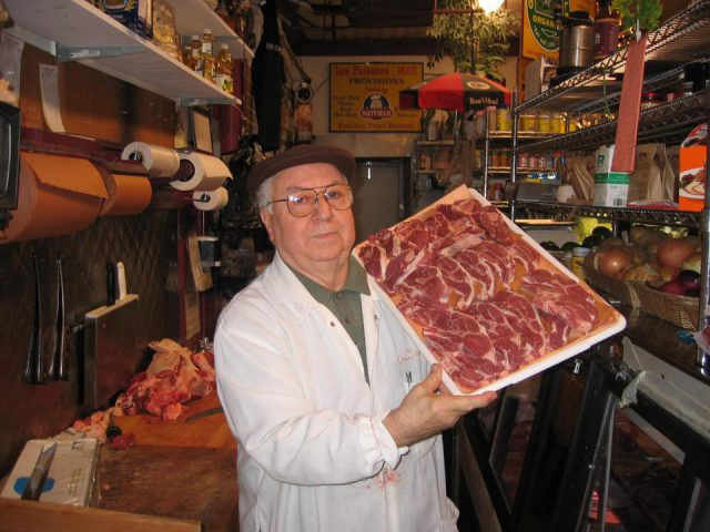 butcher shop the butcher with dry aged meats in the house no more than 3 days paisanos butcher shop brooklyn new york united states ulocal local products local purchase local produce locavore tourist