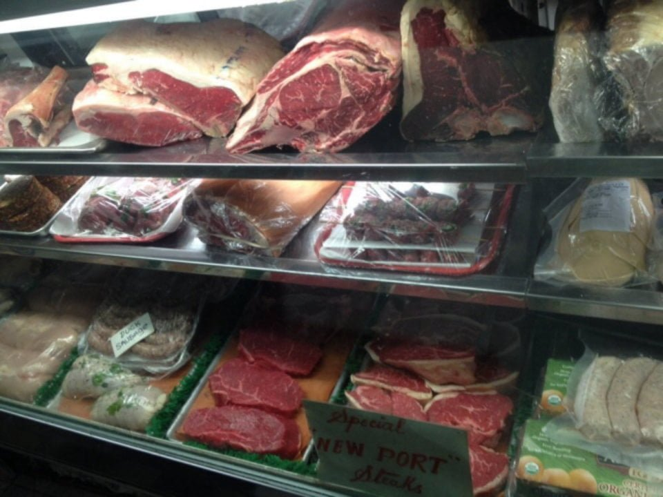butcher shop fresh meat in the refrigerated counter pinos prime meat market new york new york united states ulocal local products local purchase local produce locavore tourist