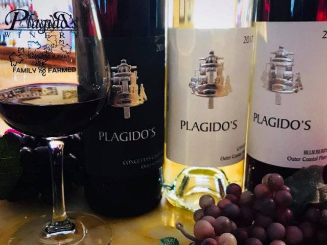 vineyard 3 bottles of wine with a glass of red wine and bunch of grapes plagidos winery hammonton new jersey united states ulocal local products local purchase local produce locavore tourist
