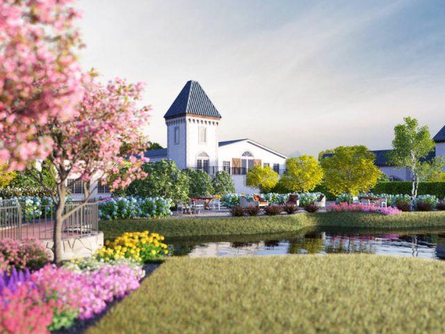 vignoble magnifique domaine avec fleurs et pont pour traverser le petit lac renault winery egg harbor city new jersey états unis ulocal produits locaux achat local produits du terroir locavore touriste