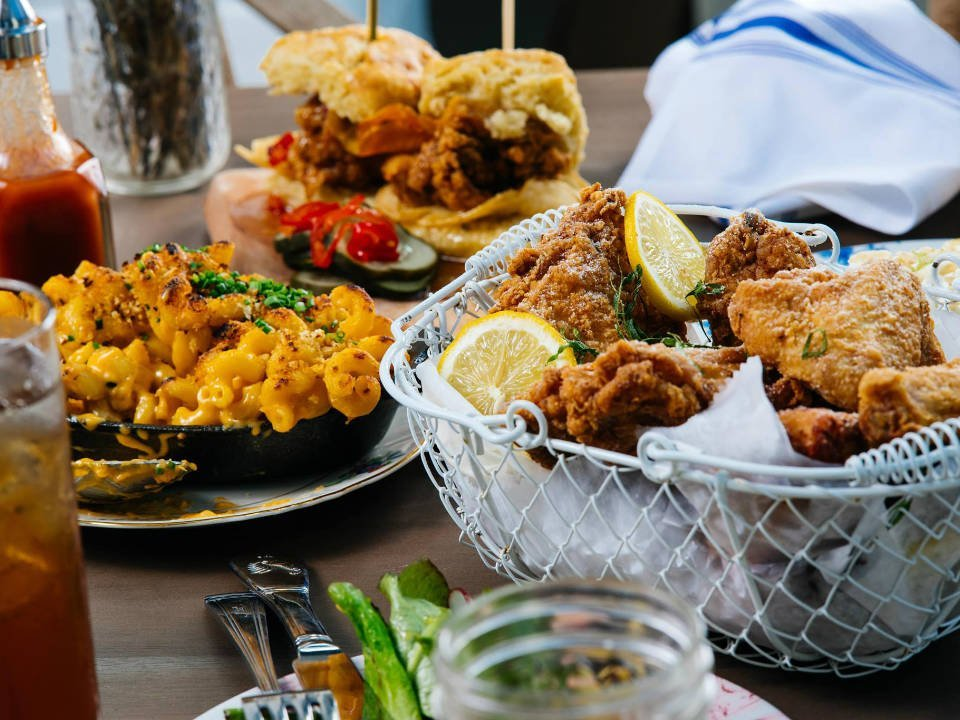 restaurant brunch dishes diversified chicken fried macaroni burgers cheese vegetables root n bone miami south miami florida united states ulocal local products local purchase local produce locavore tourist