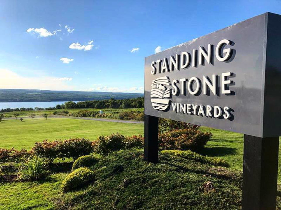 vineyards vineyard sign overlooking the vineyards standing stone vineyards hector new york united states ulocal local products local purchase local produce locavore tourist