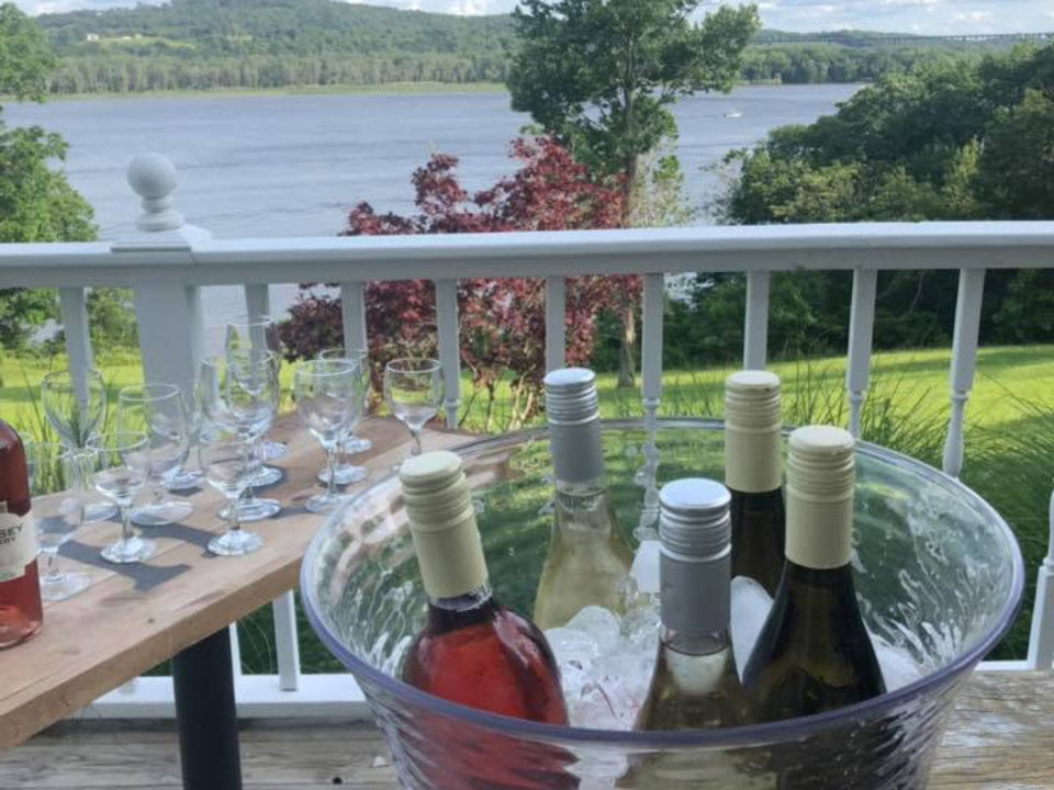 vineyards tasting on the terrace with a view of Hudson tousey winery germantown new york united states ulocal local products local purchase local produce locavore tourist