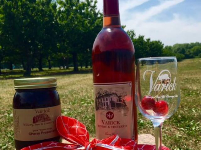 vineyards bottle of wine cherry jam and glass of wine with cherries from the vineyard varick winery and vineyard romulus new york united states ulocal local products local purchase local produce locavore tourist