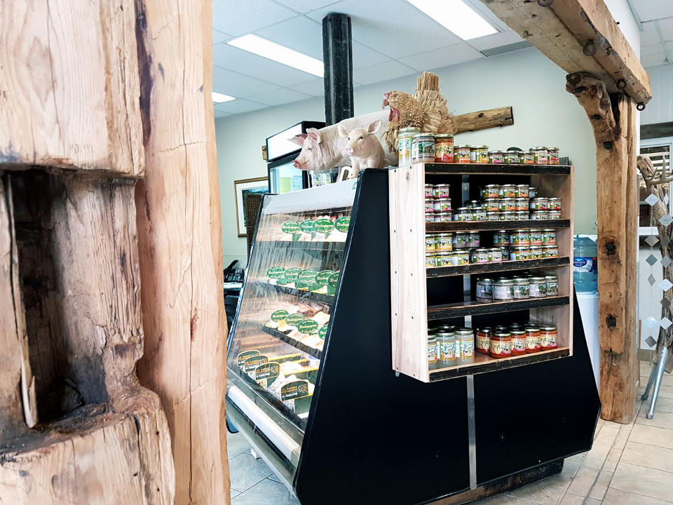 sale of meat sales counter open for the summer season viandes biologiques de charlevoix saint-urbain quebec canada ulocal local products local purchase local produce locavore tourist