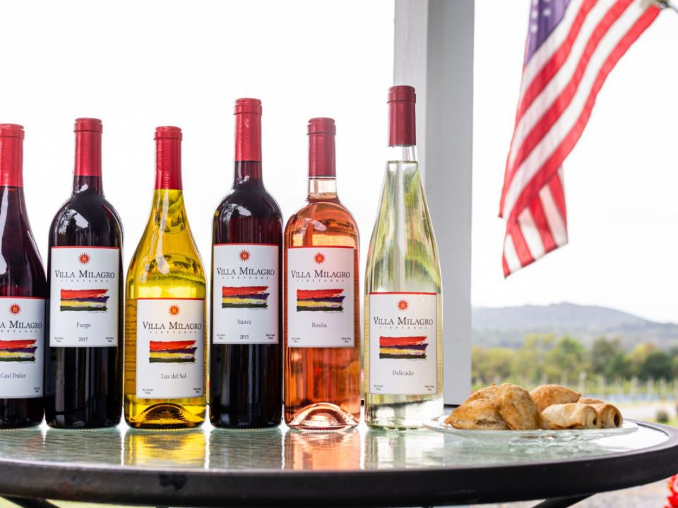 vineyard variety of 6 bottles of vineyard wines with flag of united states villa milagro vineyards phillipsburg new jersey united states ulocal local products local purchase local produce locavore tourist