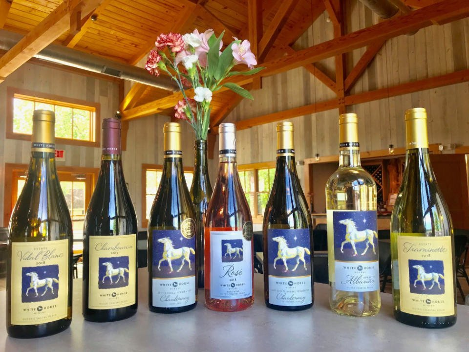 vineyard medal winners wine in the tasting room barrel fermented chardonnay estate chardonnay rose estate traminette estate vidal white estate chambourcin estate albarino white horse winery hammonton new jersey united states ulocal local products local purchase local produce locavore tourist