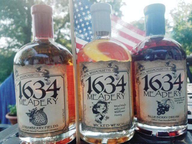 vineyards 3 bottles of honey wine with us flag 1634 meadery ipswich massachusetts united states ulocal local products local purchase local produce locavore tourist