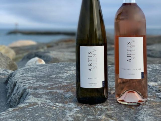 vineyards 2 bottles of white and rosé wine on a rock in a bay artis winery pembroke massachusetts united states ulocal local products local purchase local produce locavore tourist