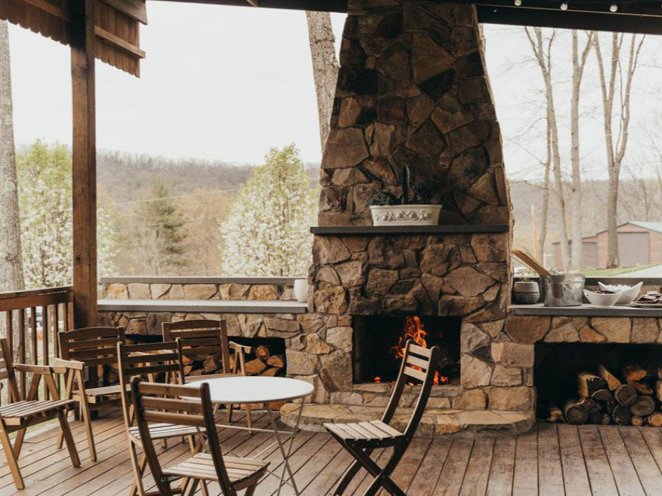 vineyards beautiful covered patio for tasting with stone fireplace bastress mountain winery williamsport pennsylvania united states ulocal local products local purchase local produce locavore tourist