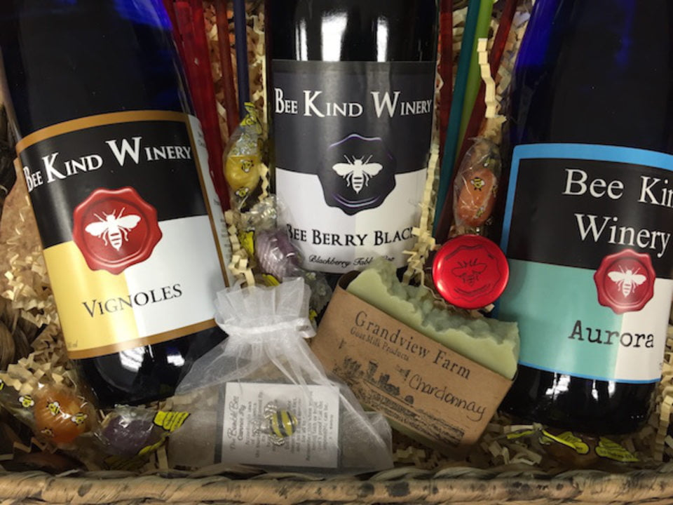 vineyards assortment of 3 bottles of wine from the vineyard bee kind winery clearfield pennsylvania united states ulocal local products local purchase local produce locavore tourist