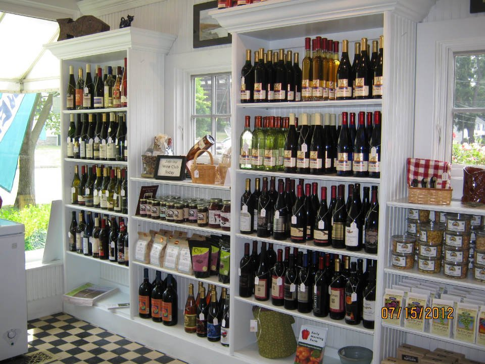 vineyards gourmet shop with local products preserves jams and wine bottles from the vineyard bet the farm winery trumansburg new york united states ulocal local products local purchase local produce locavore tourist