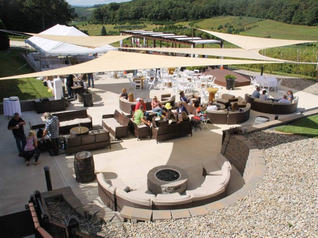 vineyards beautiful terrace style loundge round banquettes and corner foyer blue ridge estate vineyard and winery saylorsburg pennsylvania united states ulocal local products local purchase local produce locavore tourist