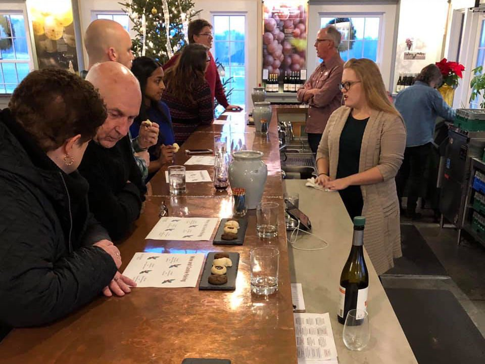 vineyards tasting room with customers at the bar tasting a good wine with representatives of the vineyard boundary breaks vineyard lodi new york united states ulocal local products local purchase local produce locavore tourist