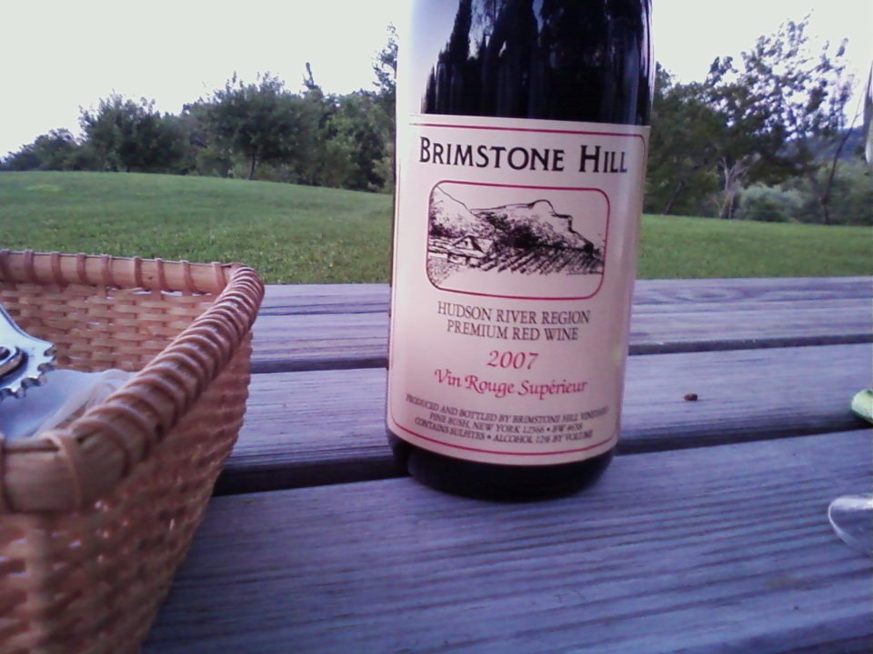 vineyards bottle of wine on a picnic table outside and basket brimstone hill vineyard pine bush new york united states ulocal local products local purchase local produce locavore tourist