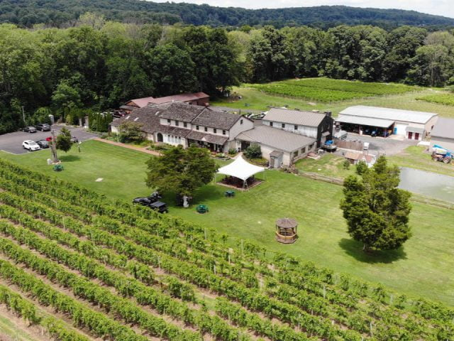 vineyards aerial view of the huge estate and wineries and vineyards buckingham valley vineyards buckingham pennsylvania united states ulocal local products local purchase local produce locavore tourist