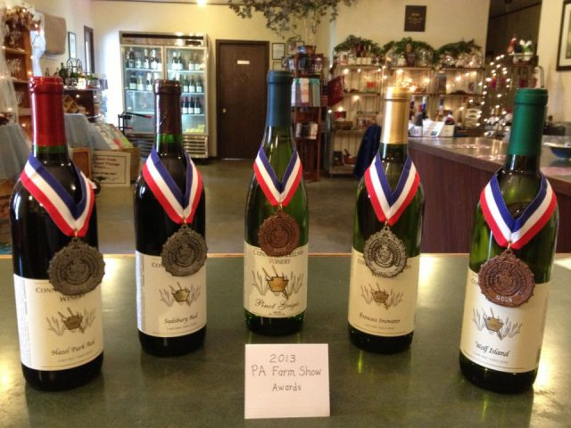 vineyards assortment of award-winning wine bottles from the vineyard conneaut cellars winery and distillery conneaut lake pennsylvania united states ulocal local products local purchase local produce locavore tourist