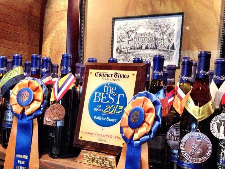 vignoble bouteilles de vin primées du vignoble prix en 2013 best of the bucks crossing vineyards and winery newtown pennsylvanie états unis ulocal produits locaux achat local produits du terroir locavore touriste