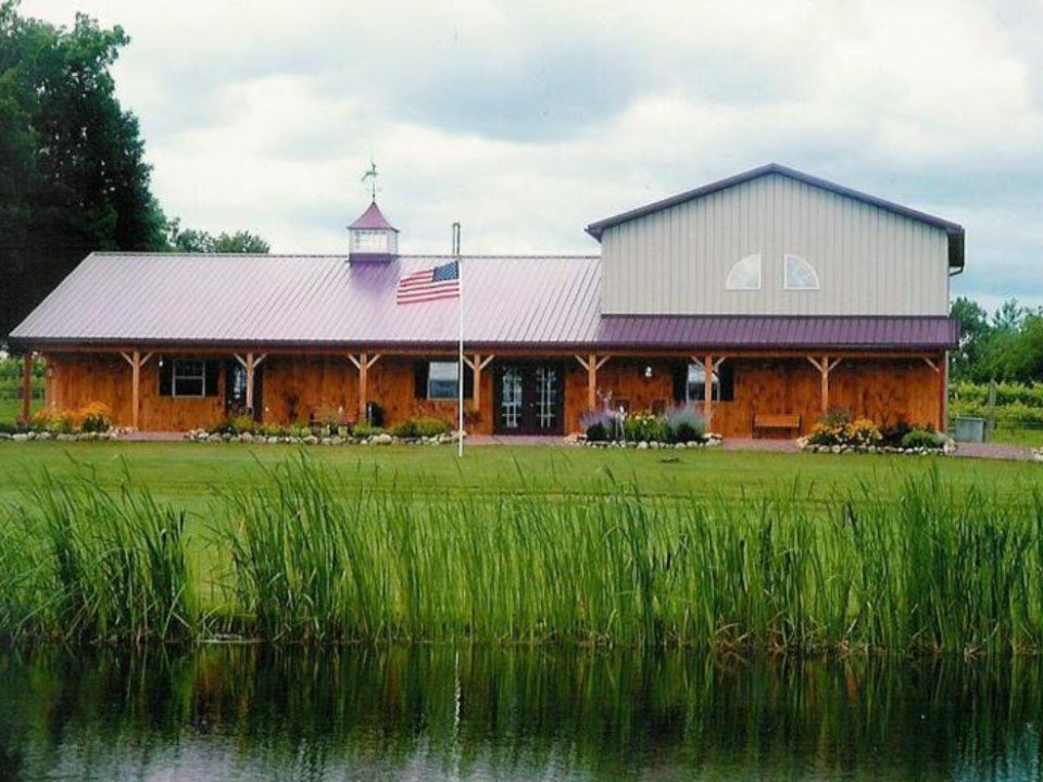 vineyards wooden wine building with lake in front deer run winery geneseo new york united states ulocal local products local purchase local produce locavore tourist
