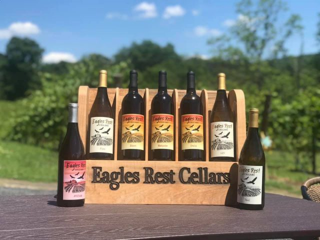 vineyards assortment of wine bottles from the vineyard in a wooden box eagles rest cellars stroudsburg pennsylvania united states ulocal local products local purchase local produce locavore tourist