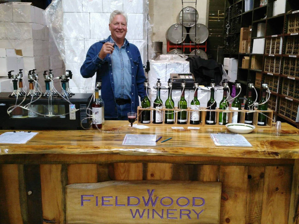 vineyards owner in the wine production room behind a bar for tastings with wine bottles fieldwood winery schuylkill haven pennsylvania united states ulocal local products local purchase local produce locavore tourist