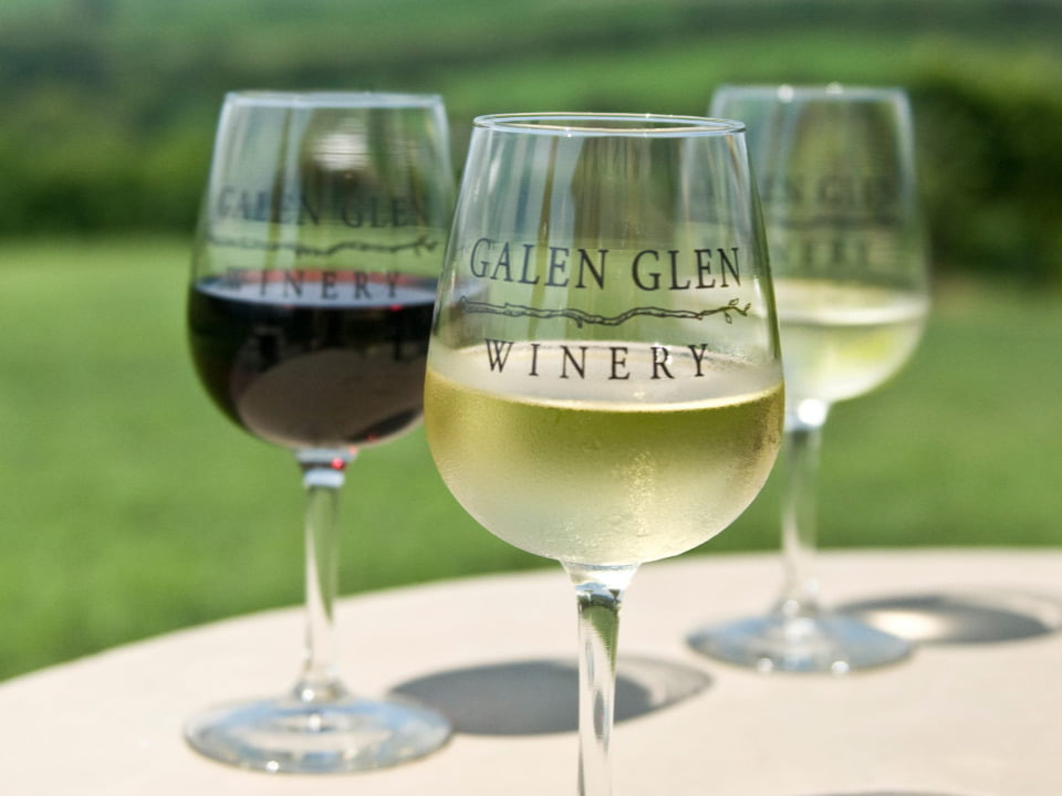 vineyards 3 glasses of wine with vineyard logo on a terrace table galen glen winery andreas pennsylvania united states ulocal local products local purchase local produce locavore tourist