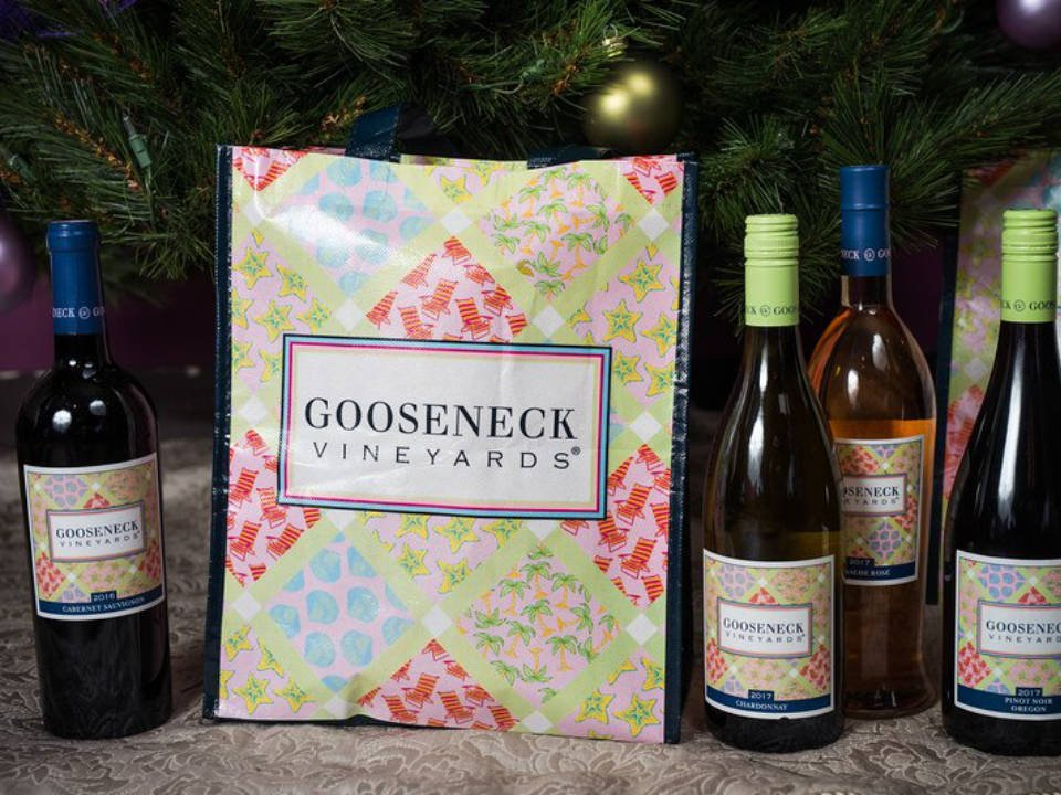 vineyards vineyard wine bottles with gift bag gooseneck vineyards north kingstown rhode island united states ulocal local products local purchase local produce locavore tourist