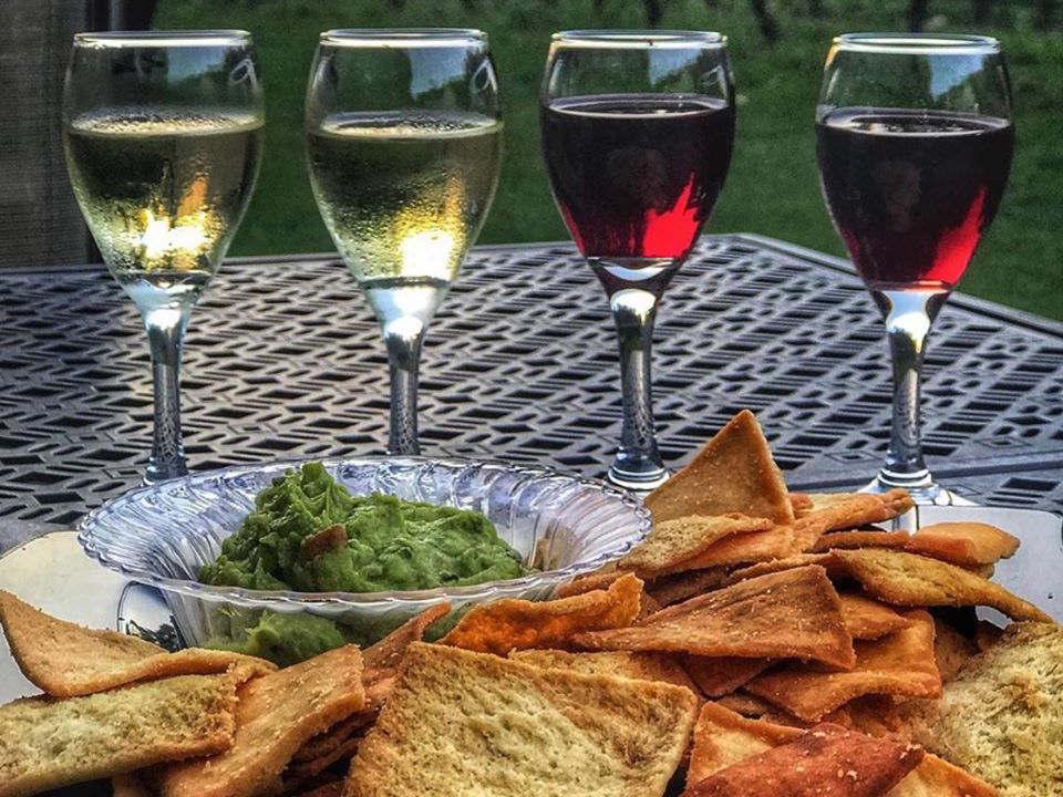 vignoble 4 verres de dégustation avec nachos et guacamole sur table de la terrasse harmony vineyards st james new york états unis ulocal produits locaux achat local produits du terroir locavore touriste