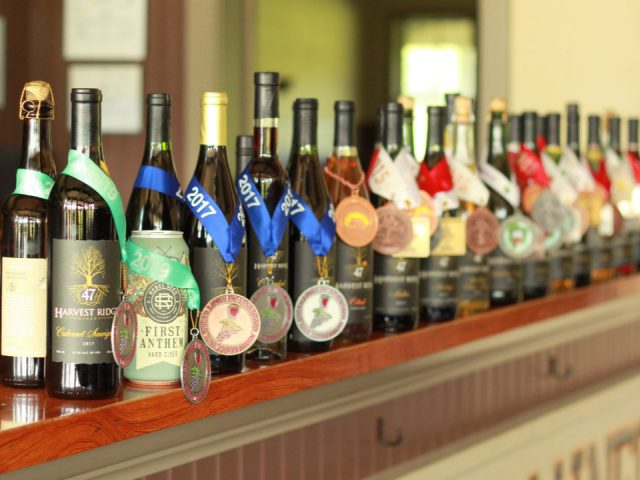 vineyards assortment of award-winning wine bottles from the vineyard on a tablet harvest ridge winery toughkenamon pennsylvania united states ulocal local products local purchase local produce locavore tourist