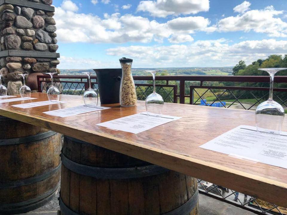 vignoble magnifique emplacement avec terrasse en hauteur verres de vin sur bar et vue du vignoble heron hill winery hammondsport new york états unis ulocal produits locaux achat local produits du terroir locavore touriste