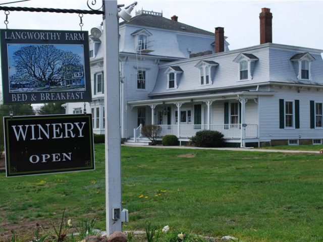 vineyards vineyard exterior sign and white ancestral house langworthy farm winery westerly rhode island united states ulocal local products local purchase local produce locavore tourist