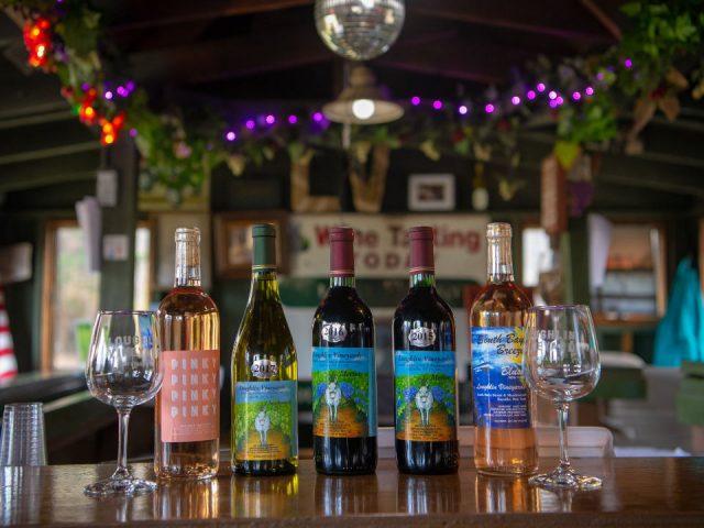vignoble assortiments de bouteilles de vin du vignoble sur le bar de dégustation loughlin vineyard sayville new york états unis ulocal produits locaux achat local produits du terroir locavore touriste