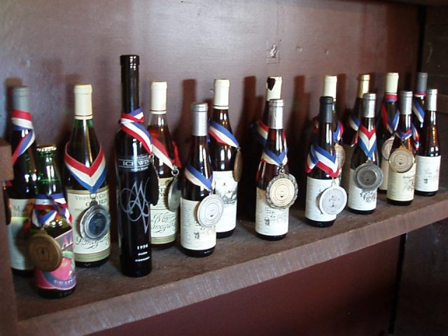 vineyards assortment of award-winning wine bottles from the vineyard mazza vineyards north east pennsylvania united states ulocal local products local purchase local produce locavore tourist