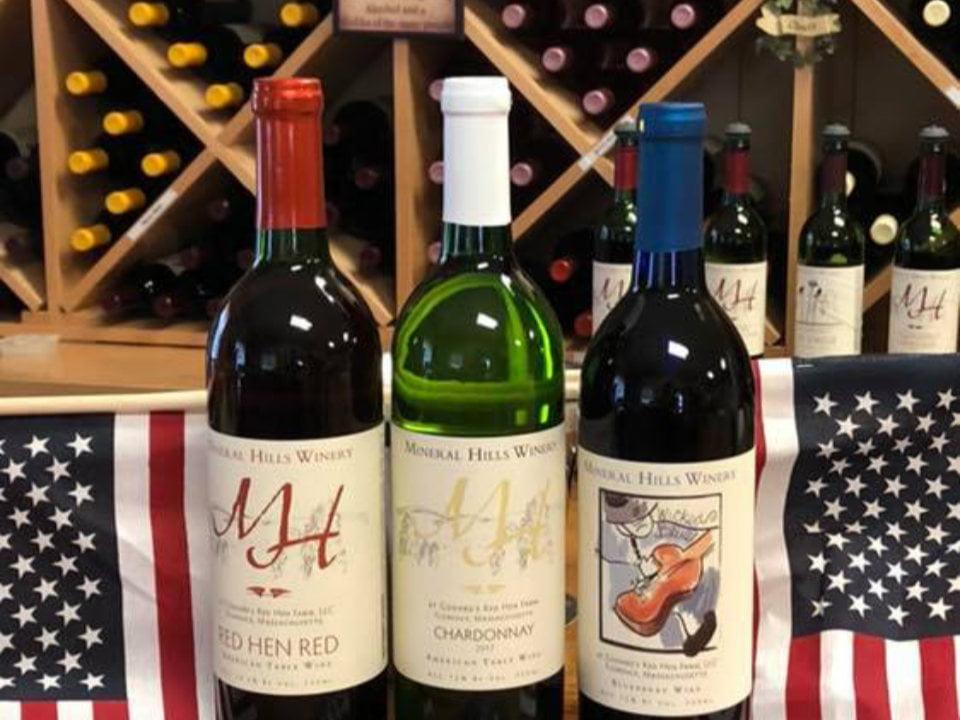 vignoble 3 bouteilles de vin du vignole dans la boutique mineral hills winery florence massachusetts états unis ulocal produits locaux achat local produits du terroir locavore touriste