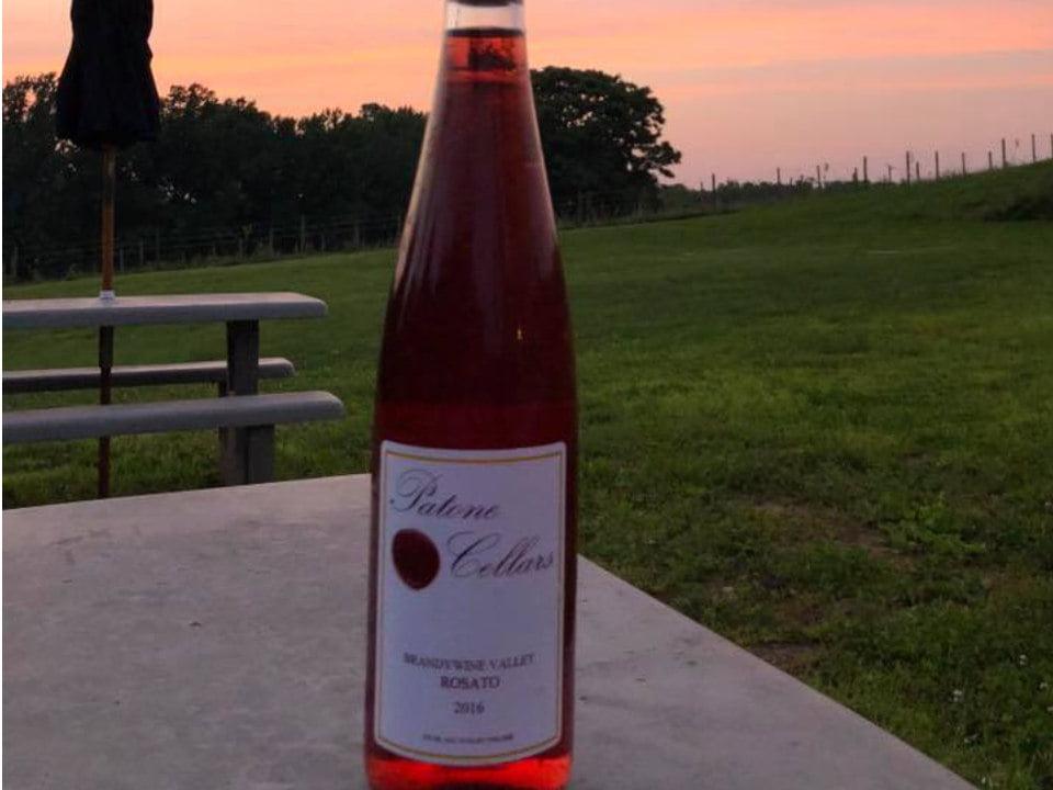 vignoble bouteille de vin rosé sur une table de pique-nique avec vue du domaine patone cellars landenberg pennsylvanie états unis ulocal produits locaux achat local produits du terroir locavore touriste
