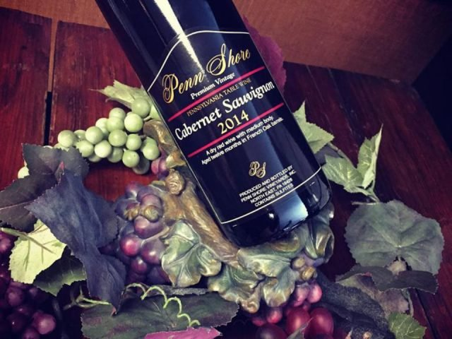 vineyards 2014 Cabernet Sauvignon Bottles with Red and Green Grape Decorations penn shore winery and vineyards north east pennsylvania united states ulocal local products local purchase local produce locavore tourist