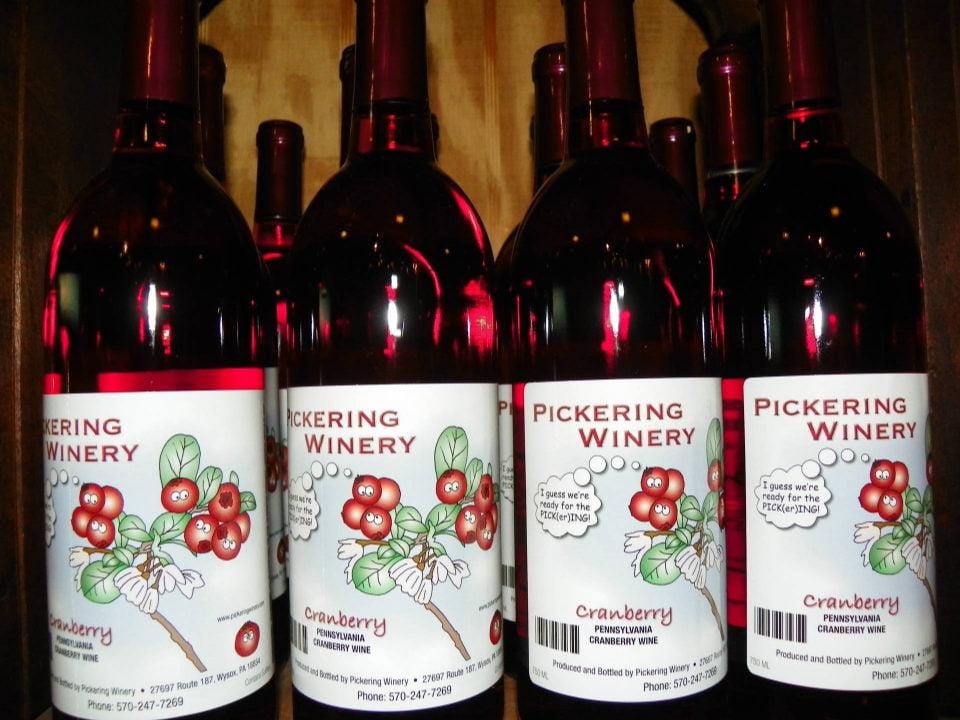 vignoble bouteilles de vin de canneberges du vignoble pickering winery wysox pennsylvanie états unis ulocal produits locaux achat local produits du terroir locavore touriste