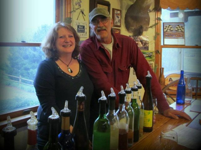 vineyards jim and mary pickering husband and wife owners ready for a tasting at the bar with several varieties of wine pickering winery wysox pennsylvania united states ulocal local products local purchase local produce locavore tourist