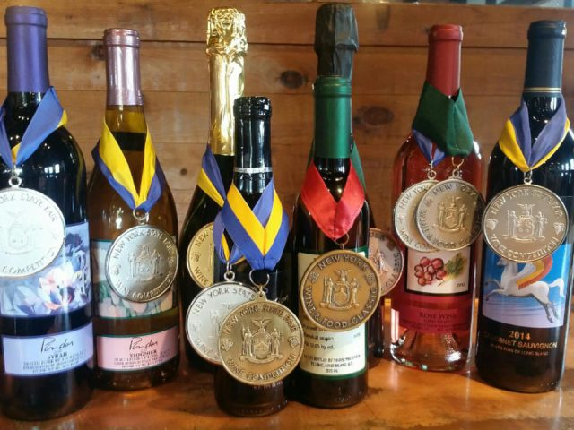 vineyards assortment of award-winning wine bottles from the vineyard on a table pindar vineyards peconic new york united states ulocal local products local purchase local produce locavore tourist