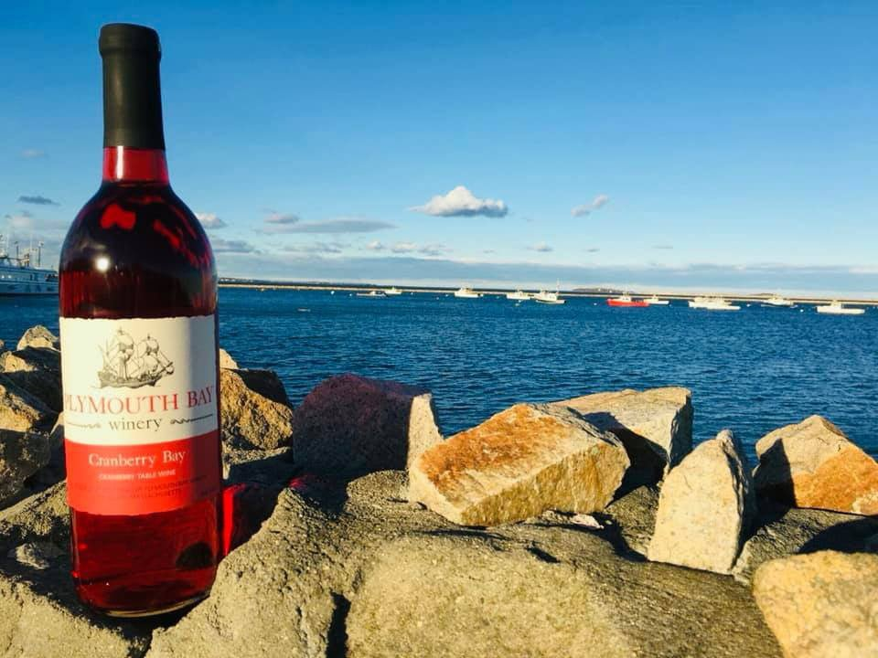 vineyards bottle of wine on the edge of the shore with boats on the water in the background plymouth bay winery plymouth massachusetts united states ulocal local products local purchase local produce locavore tourist