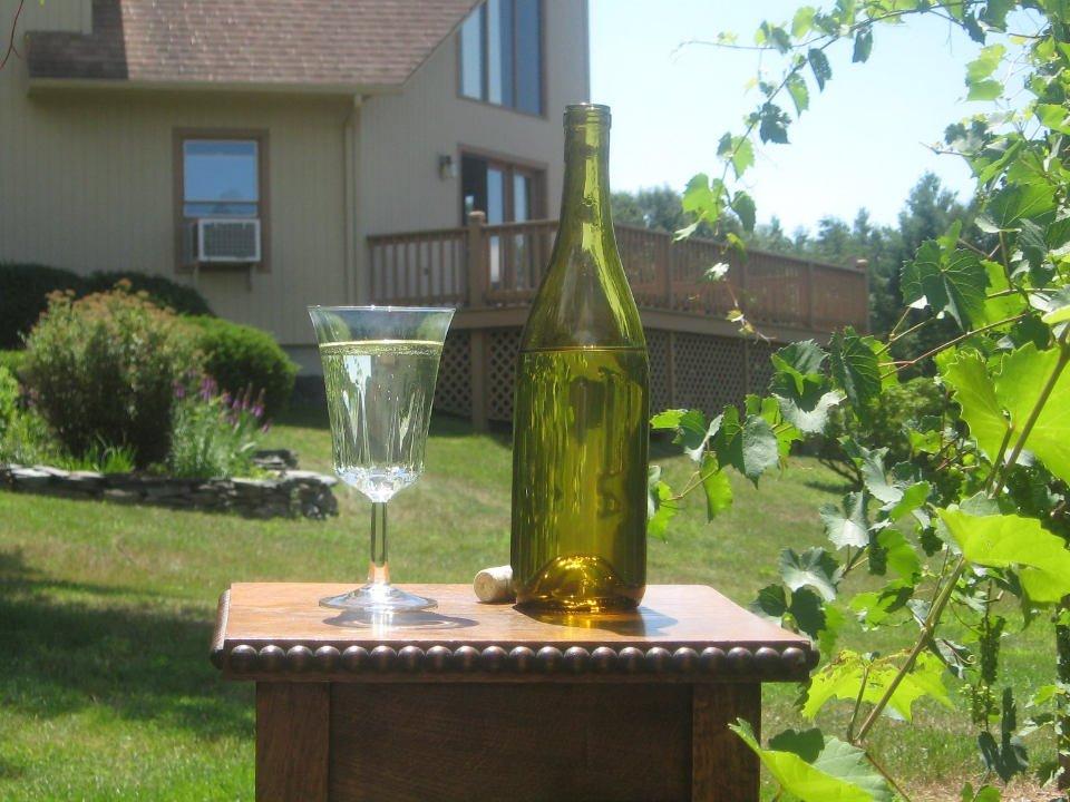 vignoble bouteille et verre de vin sur une table à l'extérieur avec vue de la terrasse et la bâtisse vinicole quabbin sky vineyard new salem massachusetts états unis ulocal produits locaux achat local produits du terroir locavore touriste