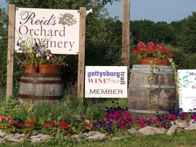 vineyards outdoor sign of vineyard and orchard with wooden barrel reids orchard and winery orrtanna pennsylvania united states ulocal local products local purchase local produce locavore tourist